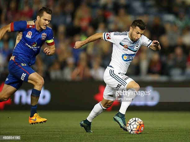 Kosta Barbarouses of the Victory controls the ball during the round three ALeague match between the Newcastle Jets and the Melbourne Victory at...