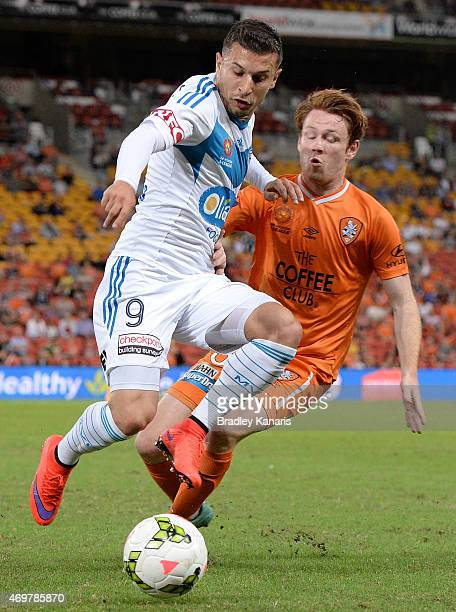 Kosta Barbarouses of the Victory in action during the round 18 ALeague match between the Brisbane Roar and Melbourne Victory at Suncorp Stadium on...