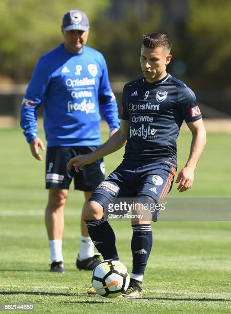Kosta Barbarouses of the Victory passes the ball during a Melbourne Victory ALeague training session at Gosch's Paddock on October 17 2017 in...