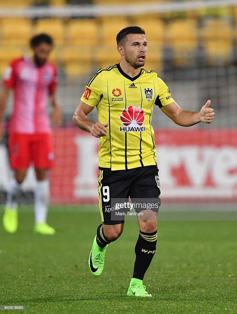 Kosta Barbarouses of the Wellington Phoenix after scoring during the round 20 A-League match between the Wellington and Melbourne City at Westpac Stadium on February 18, 2017 in Wellington, New Zealand.