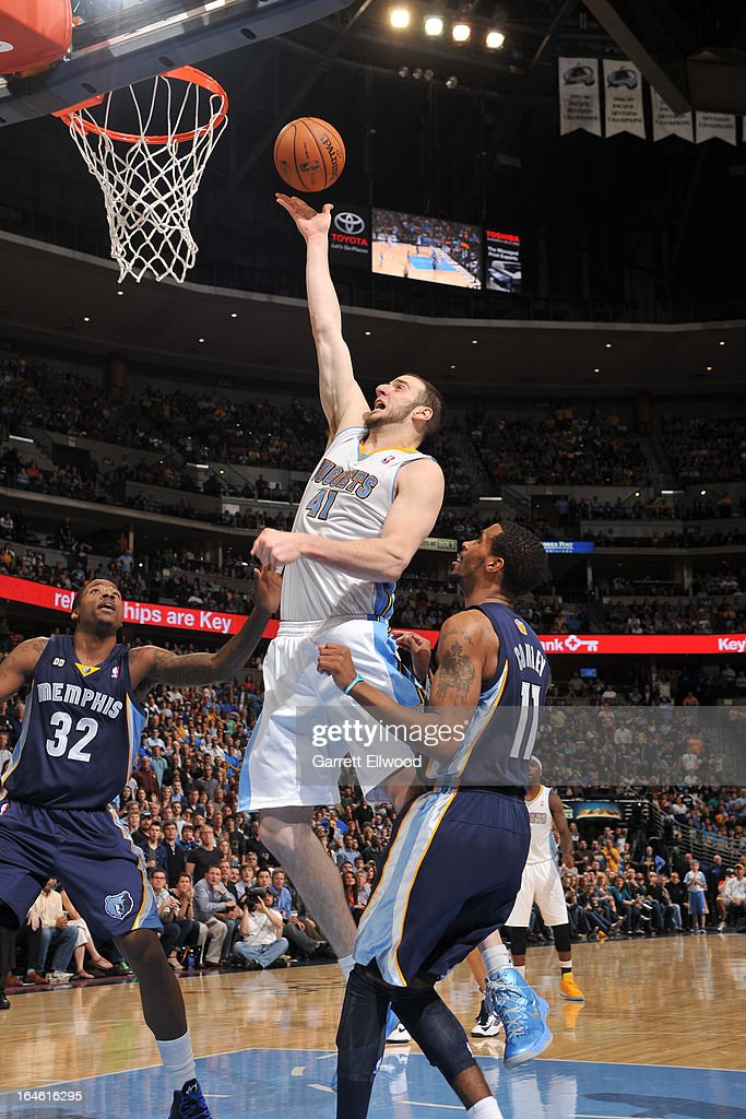 <a gi-track='captionPersonalityLinkClicked' href=/galleries/search?phrase=Kosta+Koufos&family=editorial&specificpeople=4216032 ng-click='$event.stopPropagation()'>Kosta Koufos</a> #41 of the Denver Nuggets drives to the basket against the Memphis Grizzlies on March 15, 2013 at the Pepsi Center in Denver, Colorado.