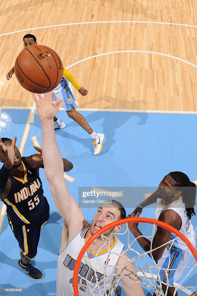 Kosta Koufos #41 of the Denver Nuggets grabs a rebound against the Indiana Pacers on January 28, 2013 at the Pepsi Center in Denver, Colorado.