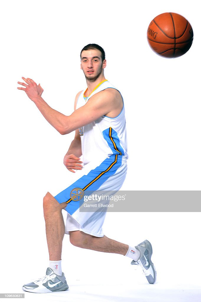Kosta Koufos #41 of the Denver Nuggets poses for a photo on February 27, 2011 at the Pepsi Center in Denver, Colorado.