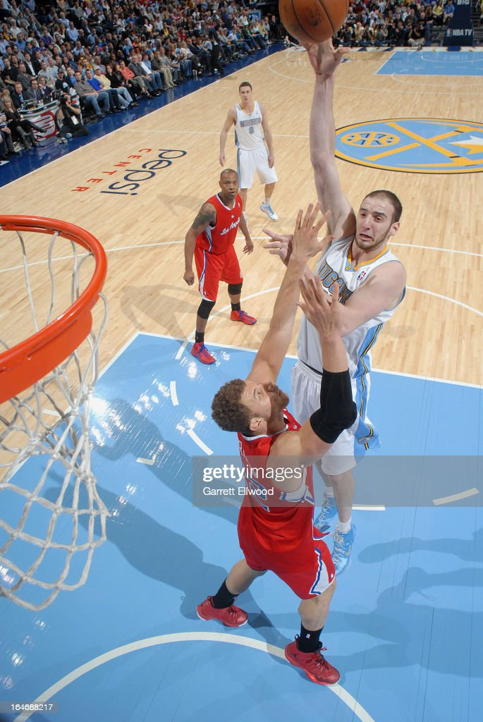 Kosta Koufos #41 of the Denver Nuggets puts up a shot against the Denver Nuggets on March 7, 2013 at the Pepsi Center in Denver, Colorado.