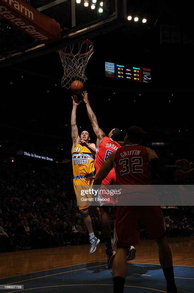 <a gi-track='captionPersonalityLinkClicked' href=/galleries/search?phrase=Kosta+Koufos&family=editorial&specificpeople=4216032 ng-click='$event.stopPropagation()'>Kosta Koufos</a> #41 of the Denver Nuggets puts up a shot against the Los Angeles Clippers on January 1, 2013 at the Pepsi Center in Denver, Colorado.