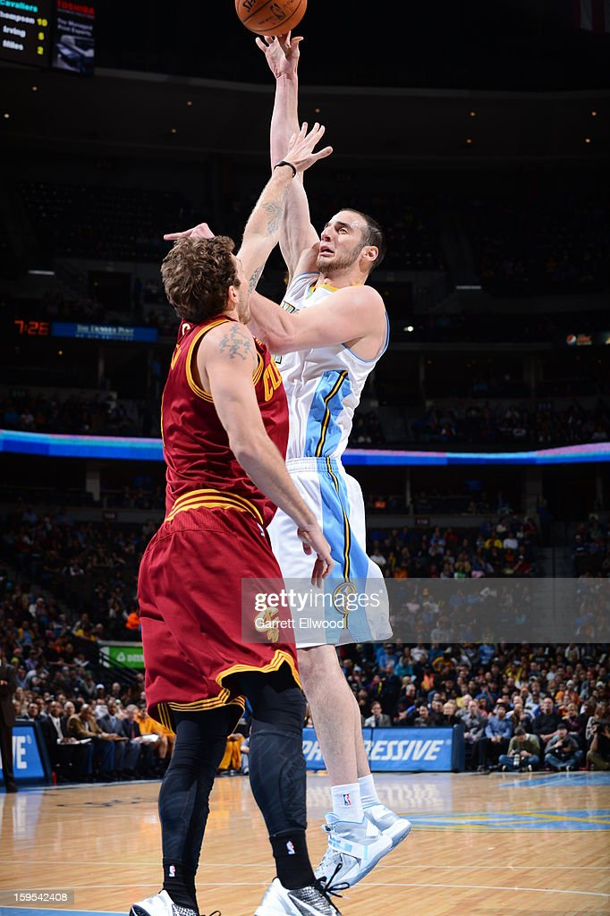Kosta Koufos #41 of the Denver Nuggets puts up a shot against the Cleveland Cavaliers on January 11, 2013 at the Pepsi Center in Denver, Colorado.