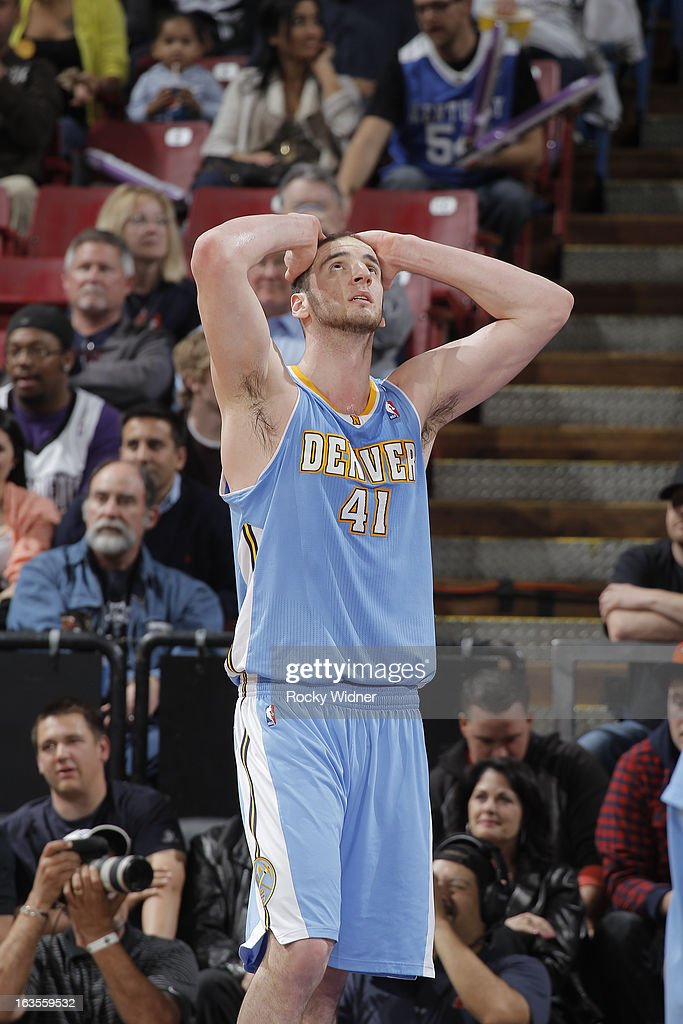 Kosta Koufos #41 of the Denver Nuggets reacts in a game against the Sacramento Kings on March 5, 2013 at Sleep Train Arena in Sacramento, California.