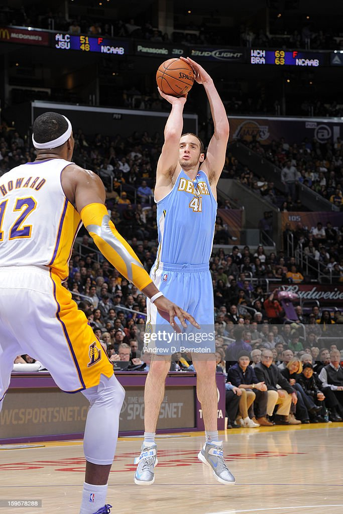 <a gi-track='captionPersonalityLinkClicked' href=/galleries/search?phrase=Kosta+Koufos&family=editorial&specificpeople=4216032 ng-click='$event.stopPropagation()'>Kosta Koufos</a> #41 of the Denver Nuggets takes a shot against the Los Angeles Lakers at Staples Center on January 6, 2013 in Los Angeles, California.