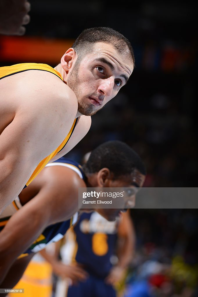 <a gi-track='captionPersonalityLinkClicked' href=/galleries/search?phrase=Kosta+Koufos&family=editorial&specificpeople=4216032 ng-click='$event.stopPropagation()'>Kosta Koufos</a> #41 of the Denver Nuggets waits to resume action against the Utah Jazz on November 9, 2012 at the Pepsi Center in Denver, Colorado.