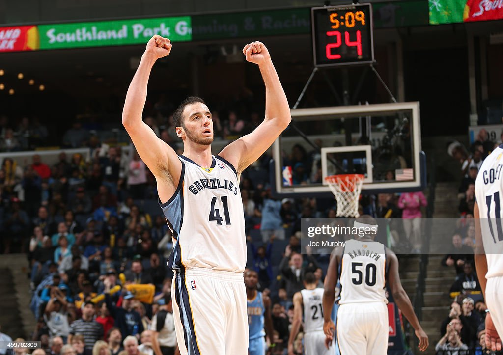 <a gi-track='captionPersonalityLinkClicked' href=/galleries/search?phrase=Kosta+Koufos&family=editorial&specificpeople=4216032 ng-click='$event.stopPropagation()'>Kosta Koufos</a> #41 of the Memphis Grizzlies celebrates during a game against the Denver Nuggets on December 28, 2013 at FedExForum in Memphis, Tennessee.