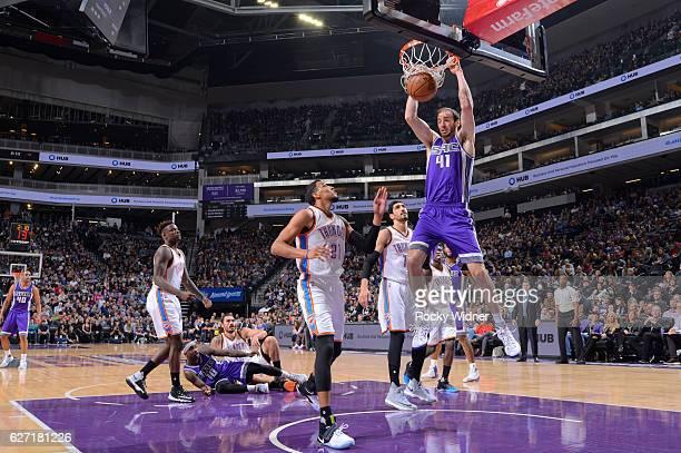 Kosta Koufos of the Sacramento Kings dunks against the Oklahoma City Thunder on November 23 2016 at Golden 1 Center in Sacramento California NOTE TO...