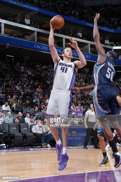 Kosta Koufos of the Sacramento Kings shoots the ball during a game against the Memphis Grizzlies on March 27 2017 at Golden 1 Center in Sacramento...