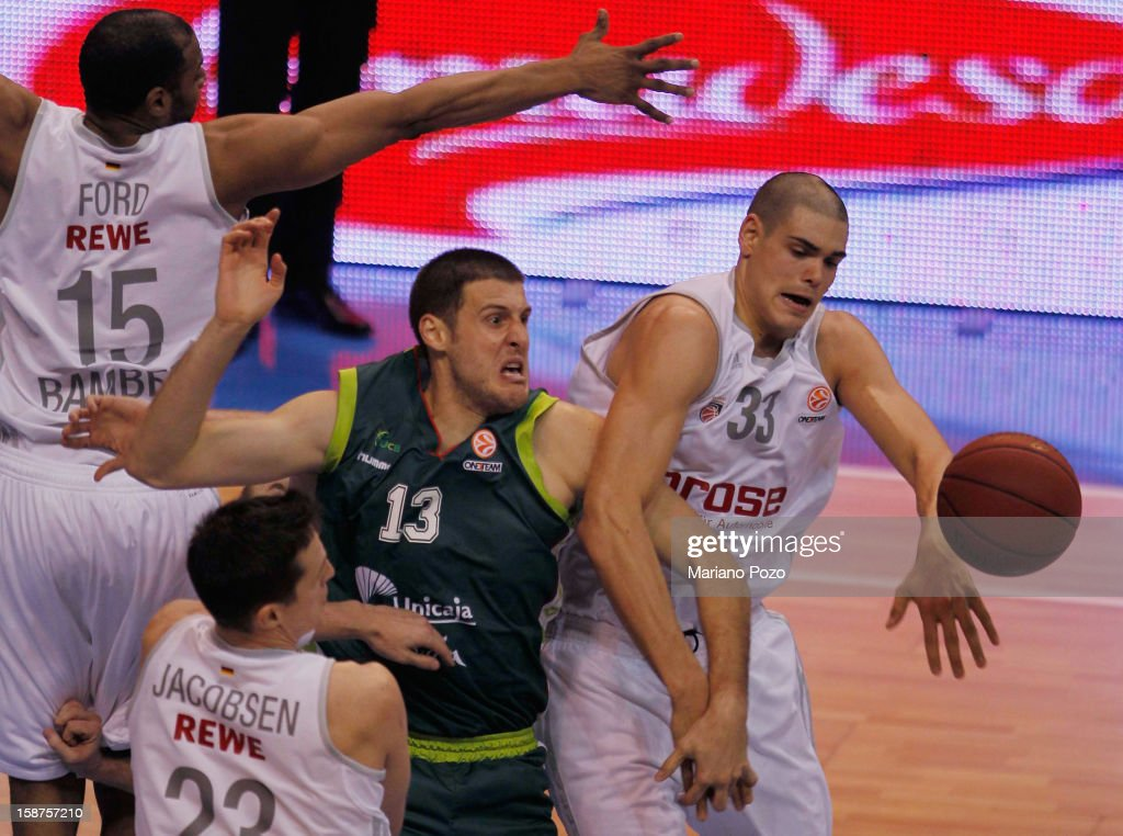 Kosta Perovic, #13 of Unicaja Malaga competes with Maik Zirbes, #33 of Brose Baskets Bamberg during the 2012-2013 Turkish Airlines Euroleague Top 16 Date 1 between Unicaja Malaga v Brose Baskets Bamberg at Palacio Deportes Martin Carpena on December 27, 2012 in Malaga, Spain.