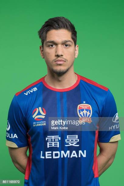 Kosta Petratos poses during the Newcastle Jets 2017/18 ALeague Season headshots session at Fox Sports Studios on September 22 2017 in Sydney Australia