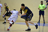 Kosta Savic of Selestat and Yohan Herbulot of Massy during the French Pro D2 playoff semi final first leg match between Massy Essonne and Selestat...