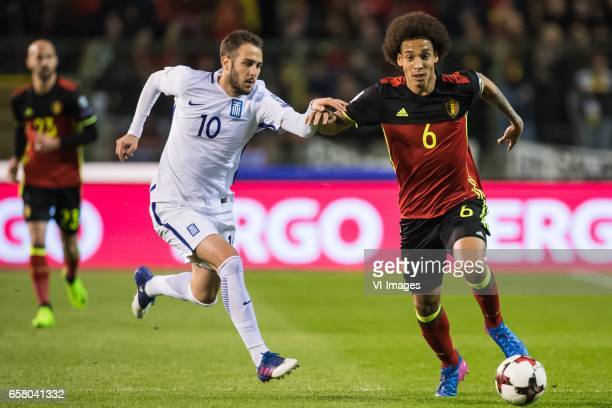 Kostantinos Fortounis of Greece Axel Witsel of Belgiumduring the FIFA World Cup 2018 qualifying match between Belgium and Bosnie Herzegowina on...