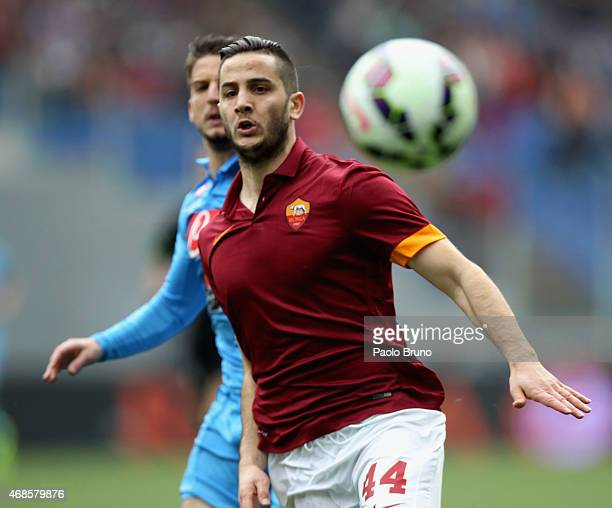 Kostantinos Manolas AS Roma in action during the Serie A match between AS Roma and SSC Napoli at Stadio Olimpico on April 4 2015 in Rome Italy