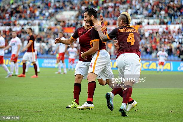 Kostantinos Manolas celebrates after he scored his team first goal during the Italian Serie A match between AS Roma and FC Carpi at Stadio Olimpico...