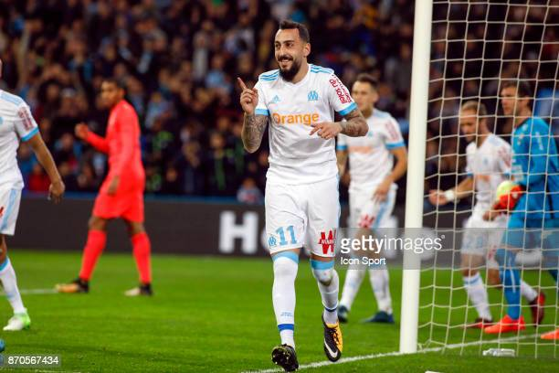 Kostantinos Mitroglou of Marseille celebrates during the Ligue 1 match between Olympique Marseille and SM Caen at Stade Velodrome on November 5 2017...