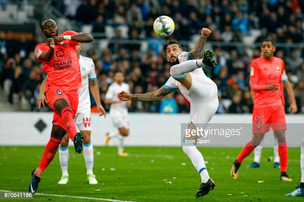 Kostantinos Mitroglou of Marseille during the Ligue 1 match between Olympique Marseille and SM Caen at Stade Velodrome on November 5 2017 in Marseille