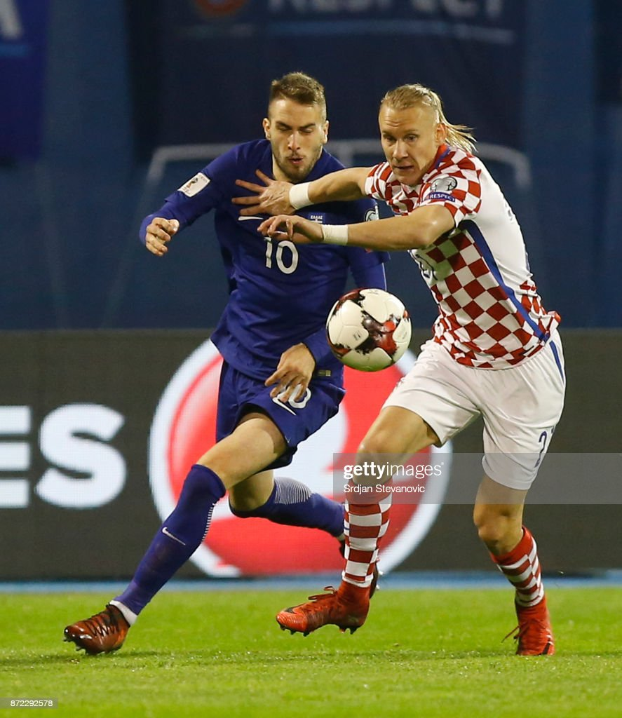 Kostas Fortounis (L) of Greece is challenged by Domagoj Vida (R) of Croatia during the FIFA 2018 World Cup Qualifier Play-Off: First Leg between Croatia and Greece at Stadion Maksimir on November 9, 2017 in Zagreb, Croatia