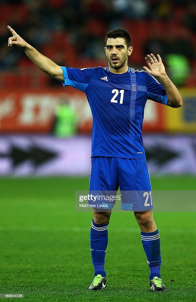 Kostas Katsouranis of Greece in action during the International Friendly match between Greece and Switzerland at Karaiskakis Stadium on February 6, 2013 in Athens, Greece.