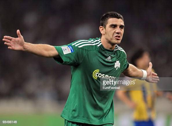Kostas Katsouranis of Panathinaikos during the Super League match between Panathinaikos FC and Asteras Tripolis held on November 22 2009 at the...