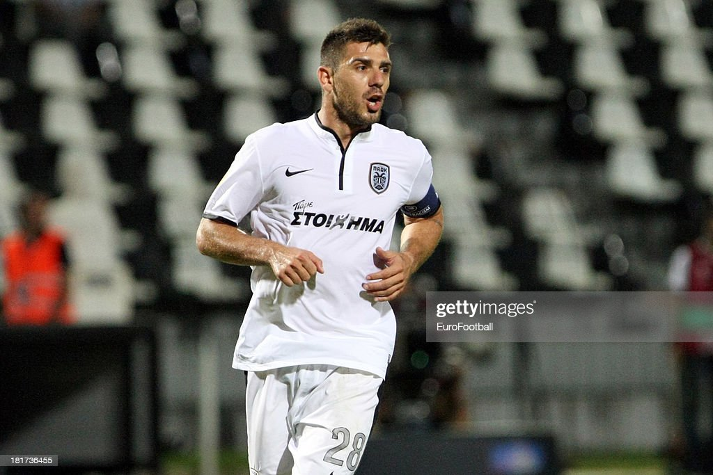 Kostas Katsouranis of PAOK FC in action during the UEFA Europa League group stage match between PAOK FC and FC Shakhter Karagandy held on September 19, 2013 at the Stadio Toumba in Thessaloniki, Greece.