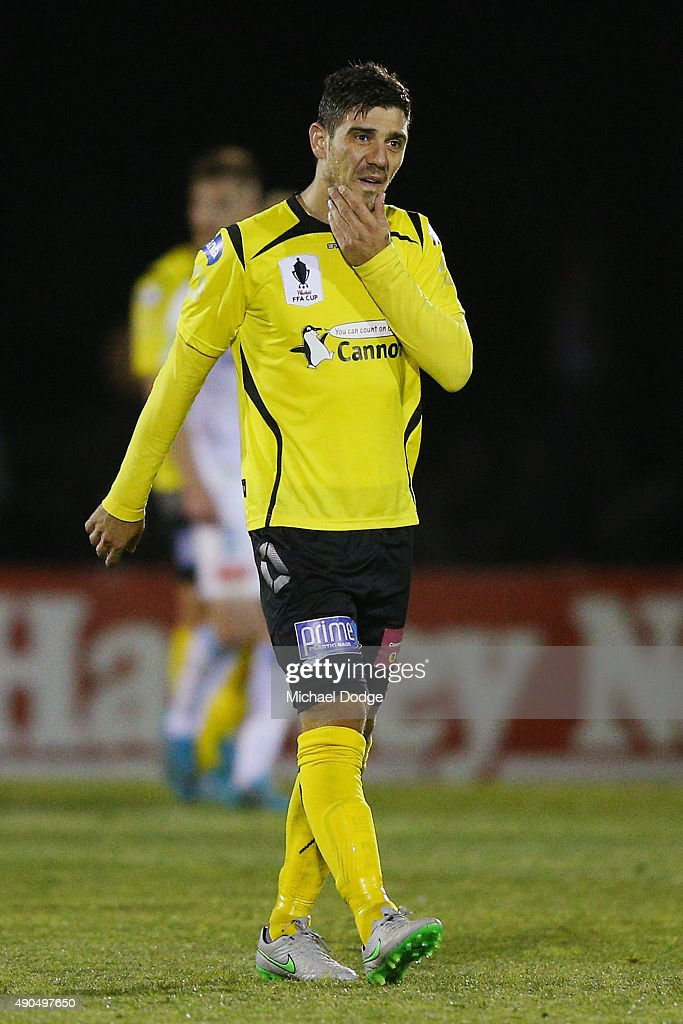 Kostas Katsouranis of United reacts after his team conceded a goal during the FFA Cup Quarter Final match between Heidleberg United and Melbourne City FC at Olympic Village on September 29, 2015 in Melbourne, Australia.