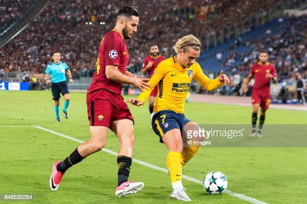 Kostas Manolas of AS Roma Antoine Griezmann of Club Atletico de Madrid during the UEFA Champions League group C match match between AS Roma and...