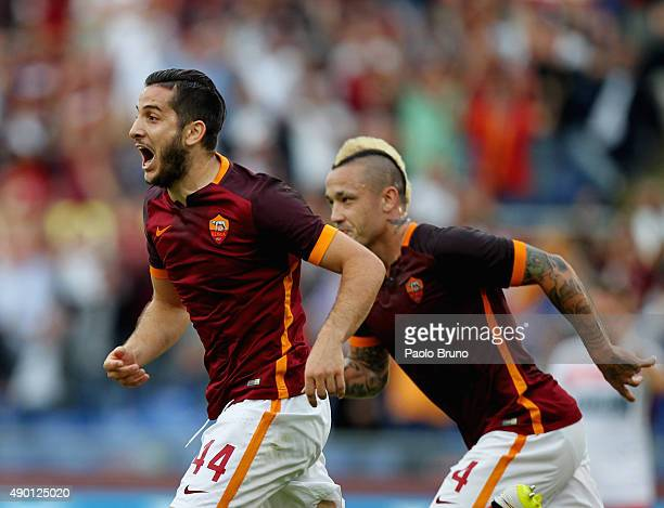 Kostas Manolas of AS Roma celebrates after scoring the opening goal during the Serie A match between AS Roma and Carpi FC at Stadio Olimpico on...