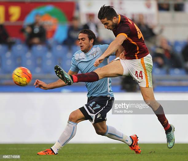 Kostas Manolas of AS Roma competes for the ball with Alessandro Matri of SS Lazio during the Serie A match between AS Roma and SS Lazio at Stadio...