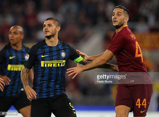 Kostas Manolas of AS Roma competes with Mauro Icardi of FC Internazionale during the Serie A match between AS Roma and FC Internazionale at Stadio...