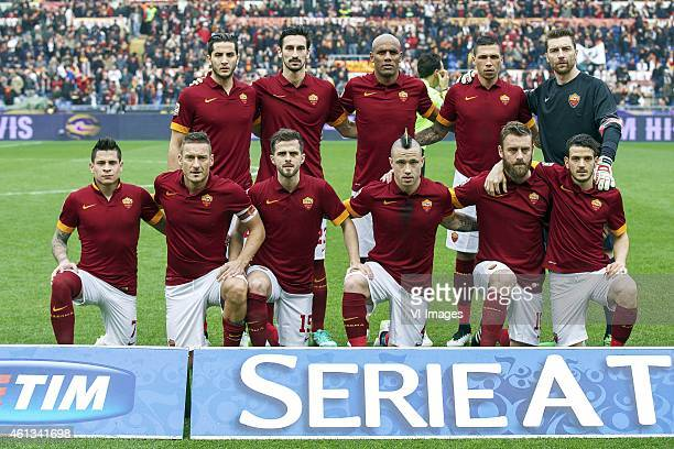Kostas Manolas of AS Roma Davide Astori of AS Roma Maicon of AS Roma Jose Holebas of AS Roma goalkeeper Morgan De Sanctis of AS Roma Juan Iturbe of...