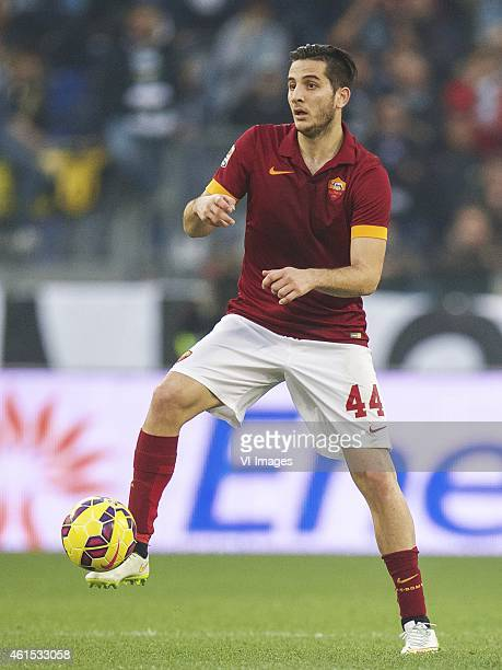 Kostas Manolas of AS Roma during the Serie A match between AS Roma and Lazio Roma on January 112014 at the Stadio Olimpico in Rome Italy