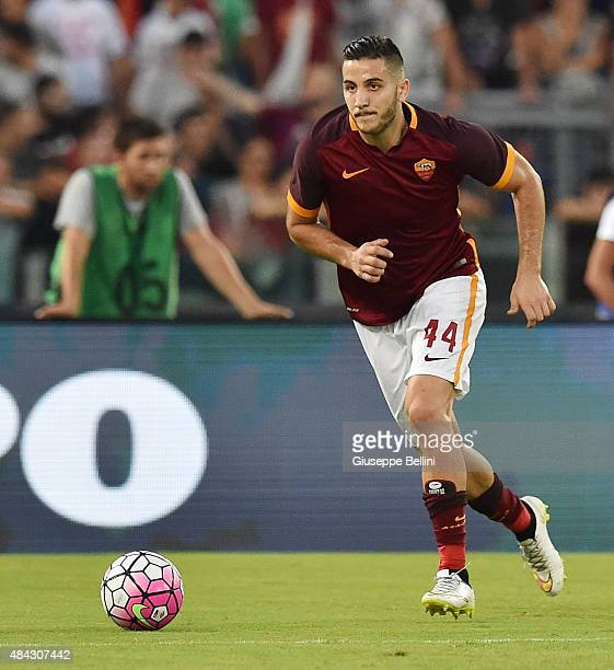 Kostas Manolas of AS Roma in action during the preseason friendly match between AS Roma and Sevilla FC at Olimpico Stadium on August 14 2015 in Rome...
