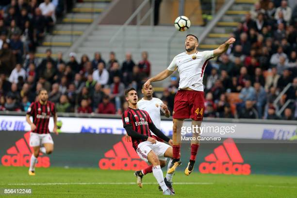 Kostas Manolas of As Roma in action during the Serie A football match between AC Milan and As Roma As Roma wins 20 over Ac Milan