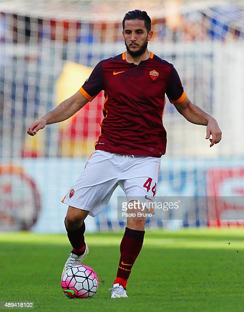 Kostas Manolas of AS Roma in action during the Serie A match between AS Roma and US Sassuolo Calcio at Stadio Olimpico on September 20 2015 in Rome...