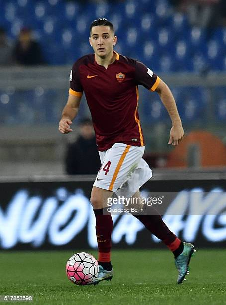 Kostas Manolas of AS Roma in action during the Serie A match between AS Roma and FC Internazionale Milano at Stadio Olimpico on March 19 2016 in Rome...