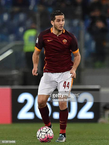 Kostas Manolas of AS Roma in action during the Serie A match between AS Roma and Bologna FC at Stadio Olimpico on April 11 2016 in Rome Italy