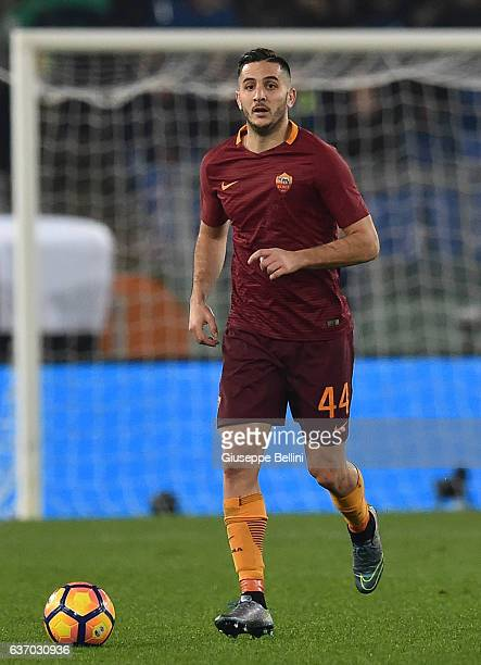 Kostas Manolas of AS Roma in action during the Serie A match between AS Roma and AC Milan at Stadio Olimpico on December 12 2016 in Rome Italy