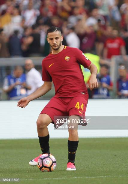 Kostas Manolas of AS Roma in action during the Serie A match between AS Roma and Genoa CFC at Stadio Olimpico on May 28 2017 in Rome Italy