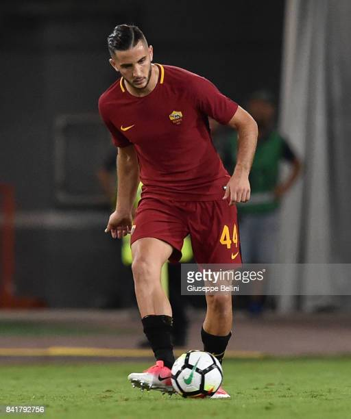Kostas Manolas of AS Roma in action during the Serie A match between AS Roma and FC Internazionale at Stadio Olimpico on August 26 2017 in Rome Italy