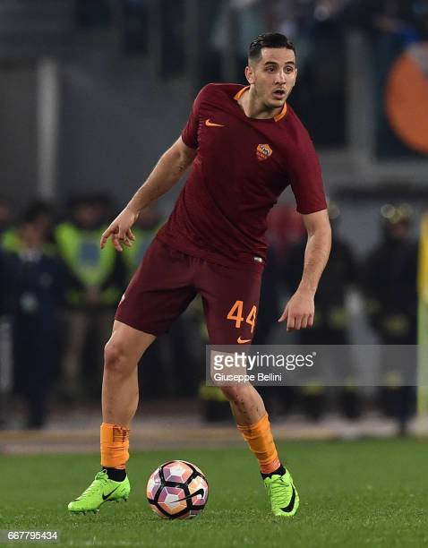 Kostas Manolas of AS Roma in action during the TIM Cup match between AS Roma and SS Lazio at Stadio Olimpico on April 4 2017 in Rome Italy
