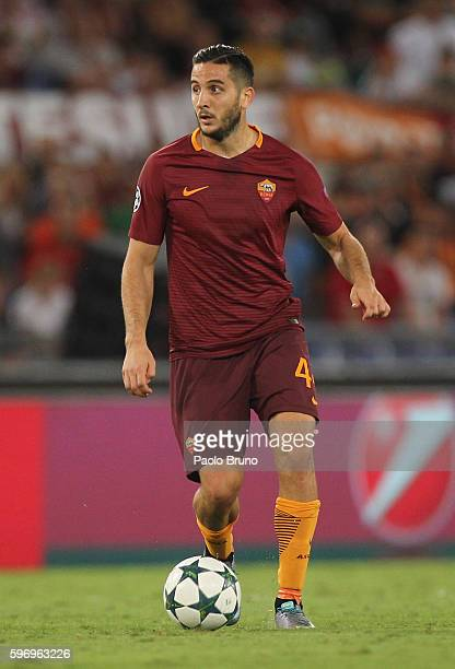 Kostas Manolas of AS Roma in action during the UEFA Champions League qualifying playoff round second leg match between AS Roma and FC Porto at Stadio...
