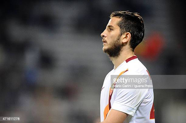 Kostas Manolas of AS Roma looks on during the Serie A match between US Sassuolo Calcio and AS Roma on April 29 2015 in Reggio nell'Emilia Italy