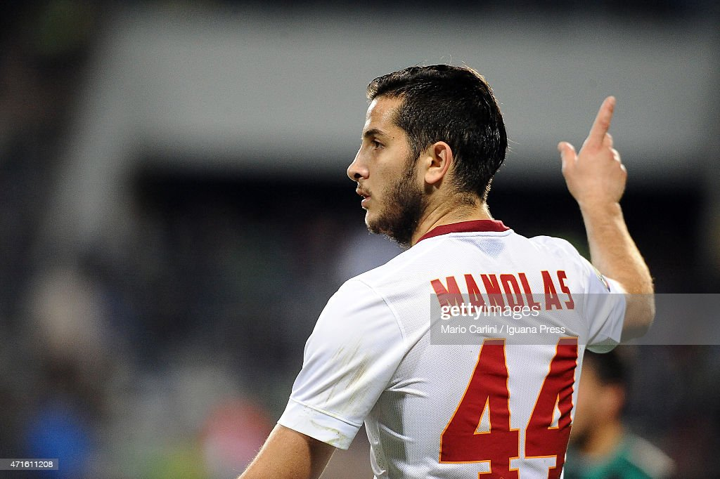 <a gi-track='captionPersonalityLinkClicked' href=/galleries/search?phrase=Kostas+Manolas&family=editorial&specificpeople=7116753 ng-click='$event.stopPropagation()'>Kostas Manolas</a> # 44 of AS Roma reacts during the Serie A match between US Sassuolo Calcio and AS Roma on April 29, 2015 in Reggio nell'Emilia, Italy.