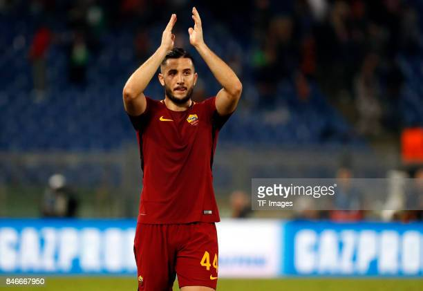 Kostas Manolas of Rom looks on during the UEFA Champions League group C match between AS Roma and Atletico Madrid at Stadio Olimpico on September 12...