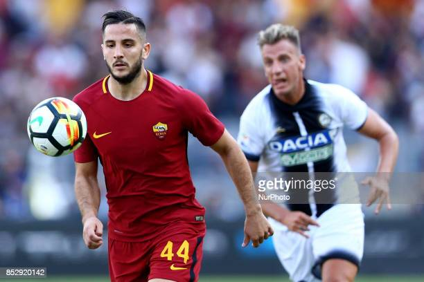 Kostas Manolas of Roma during the Italian Serie A football match AS Roma vs Udinese on September 23 2017 at the Olympic stadium in Rome