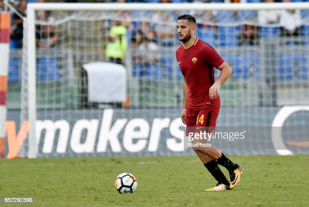 Kostas Manolas of Roma during the Serie A match between Roma and Udinese at Olympic Stadium Roma Italy on 23 September 2017